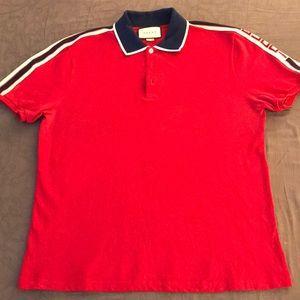 GUCCI Logo-web Cotton-blend Piqué Polo Shirt